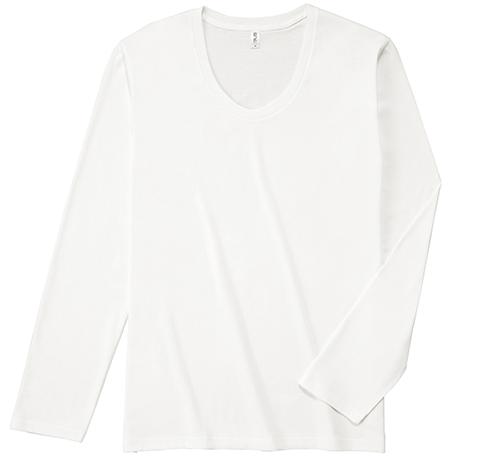 SUL-116 スリムフィット Uネック ロングスリーブ Tシャツ