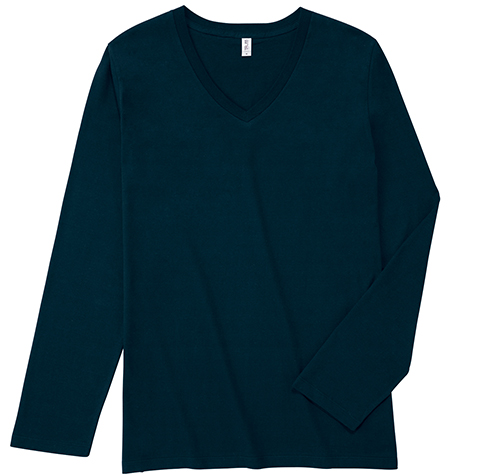 SVL-115 スリムフィット Vネック ロングスリーブ Tシャツ