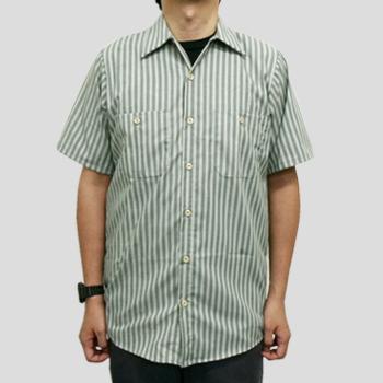 S0020 4.25ワークシャツ半袖ストライプ