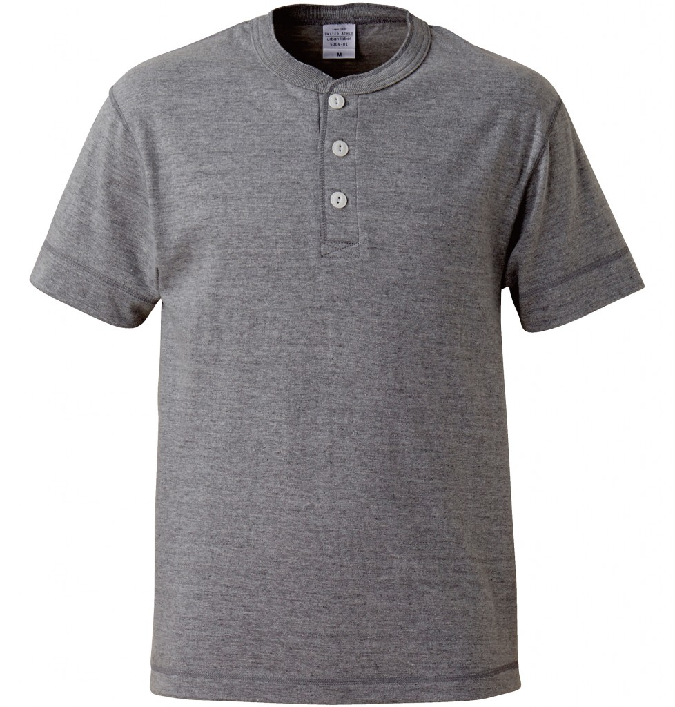 5004-01 5.6オンス ヘンリーネックTシャツ