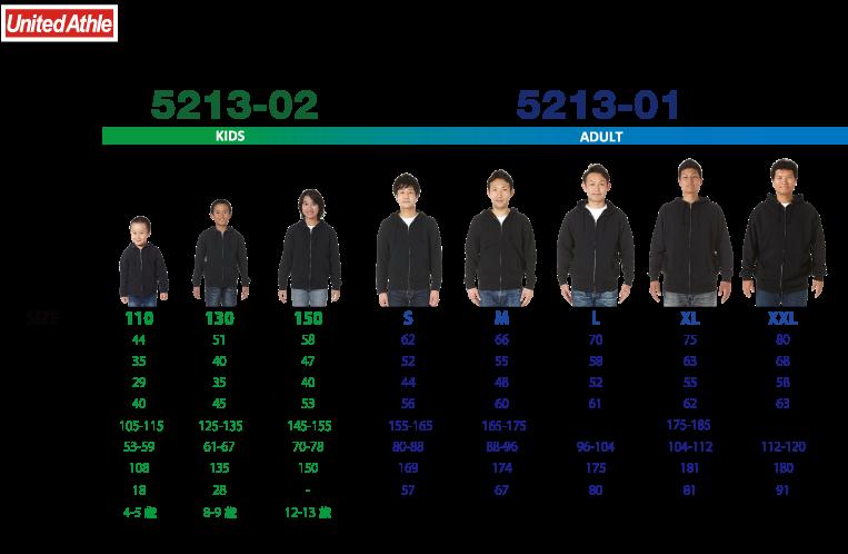 5213-01, 02  10.0オンス スウェット フルジップ パーカ(裏パイル)