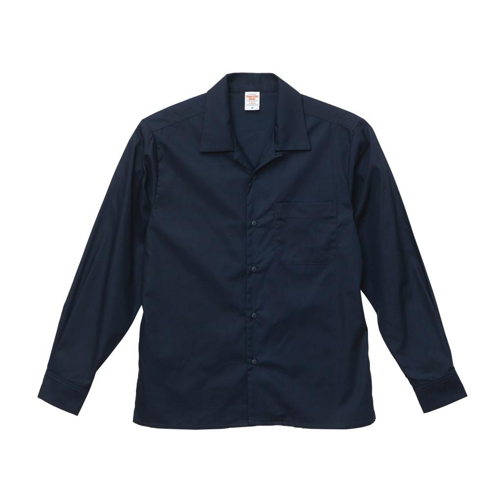 1760-01 T/C オープンカラーロングスリーブシャツ