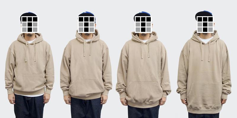 着用サイズイメージ(左からM~2XL:モデル身長170cm)